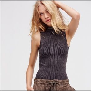 Free People No Looking Back Gray Ribbed Sleeveless